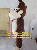 Schöne braune orangutan Eselkong Maskottchen Kostüm Mascotte Gorilla OrangOutang Erwachsener mit großen weißen Mund No.826 Freies Schiff