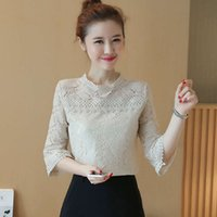 t Shirts Shirtslace Bottomed Blouse Women's Autumn Dress 3   4 Sleeve Foreign Style Fashion