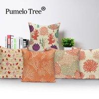 Cushion Decorative Pillow Tropical Plants Cotton Linen Flower Pattern Throw Cushion Cover Seat Car Home Decor Sofa Bed Decorative Case Cojin