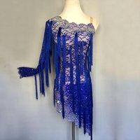 est 학생 소녀 경쟁적인 라틴 댄스 드레스 여성 블루 술 파티 댄스 착용 여성 성능 어린이 의류 1155 무대