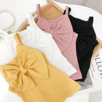 Girls Tank Top Children Tops Summer Cotton Kids Clothes Big Bow Sling Vest Dress Baby T-shirts Tee B6752