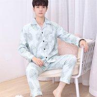 2021 Winter Masculino's Sleepwear Solto de Manga Longa Top De Médio Envelhecido e Vestido de Casa Idosos