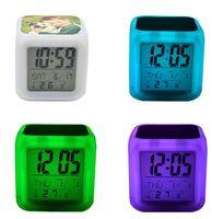 LED Table Relógios Sublimação Blanks Glow Electronics Quarto Quarto Colorido Alarme Lembrete Relógio Crianças 8 Tipos de Ringtones WWA284