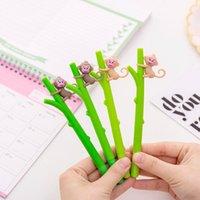 Gel Pens 12 Pcs Super Cute Little Monkey Climbing Tree Lovely Neutral Pen 0.5 Black Student Stationery