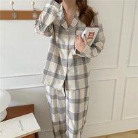 Couples Pajamas Set Plaid Night Womens Sleepwears Pijamas Male Long Sleeve Pyjamas Sleepwear Suit Casual Homewear Pj Pijama Home L059