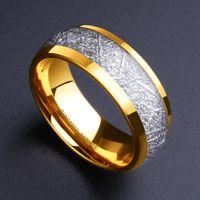 럭셔리 망 보석 액세서리 8mm 골드 텅스텐 카바이드 반지 인레이 실버 유성 패턴 남성용 웨딩 밴드