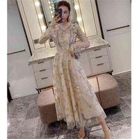 Onaltı Sokak Sequins Yıldız Nakış Elbise Kadın Için Uzun Kollu V Boyun Zarif Parti Sonbahar Vestidos 210603