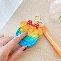 DHL SHIP 12 Styles Sensory Toys Mini Cute Cartoon Bubbles Coin Purse Bag Silicone Earphone Bags Fidget Push Pop Bubble Puzzle Wallet Toy 71008D