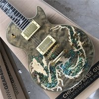Hot selling high quality electric guitar wholesale dragon pattern top G custom , gold hardware