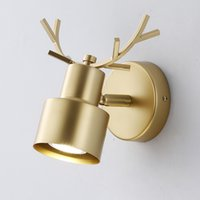Creative Bedroom Bedside Wall Lamps Personality Antler Lamp Modern Living Room Study Simple Golden LED Wall Light Fixtures Nordic Children's Home Decor Lighting