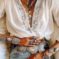 Ayualin manga longa branco laço floral v-pescoço blusas camisa de algodão casual blusa de outono de alta qualidade mulheres boho roupas blusas 210317