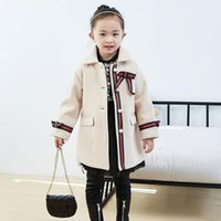 Fashion Girls Long Style Woolen Coats With Pearl Button Fall Winter Children Jackets Kids Girl Outwear 2 Colors 2-7 Years