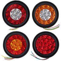 12 V 16 LED Auto Runde Bernstein Rote Rücklichter Rückseite Nebelscheinwerfer Anschlag Bremse Laufende Rückfahrlampe Für LKW Anhänger LKW