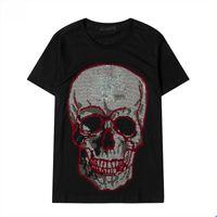 100 % 코튼 크리스탈 해골 디자이너 티셔츠 망 여름 곰 티셔츠 기본 단색 인쇄 편지 스케이트 보드 캐주얼 펑크 티 여성 Shir