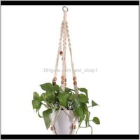 Macrame Plant Hanger With Wood Beads Handmade Cotton Rope Flower Pot Basket Holders Indoor Planter Hanging Tray Home Decor Sf9Uv Wigab