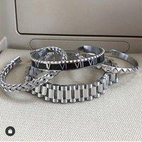 Moda quente 15mm Mens de luxo Mens Womens Band Bracelete Hiphop Ouro Prata Aço Inoxidável Watchband Strap Cuff Bangles Jóias 98 T2