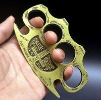 Вес Около 220-240 г Металлическая латунная Костяшка Дастер Четыре Пальца Самооборона Инструмент Фитнес Открытый Защита Охрана Карманные EDC Инструменты Gear