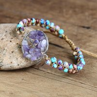 Tree Charm Bracelet Boho Yoga Chakra Crystal Imperial Stone Beads String Braided Wrap Handmade Meditation Jewelry Bracelets
