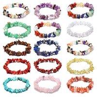 Kimter Irregular Beads Bracelet Handmade Natural Gemstone Bracelets Chakra Crystal Stretch Bangle jewelry for Women Girls Accessories X1A