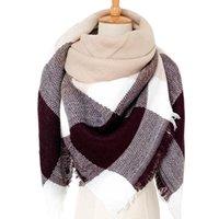 Scarves 2021 Knitted Winter Woman Plaid Warm Lady Shawls Neck Bandana Designer Triangle Elegant Femme Wraps