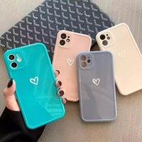 Candy Colors Love Heart Phone Case For iPhone 13 12 11 Pro Max 7 8 Plus X XR XS Max 12 Three dimensional Square Frame Back Cover Coque