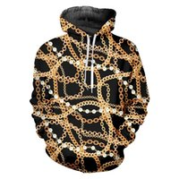 Mäns Hoodies Sweatshirts Kvinnor / män Hoodie Långärmad Sweatshirt Lyxig Golden Necklace Pearls Höst Pullover Loose Streetwear Kvinna LA