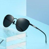 Gafas de sol polarizadas redondas sin montura para hombres AMP, Lente de espejo azul TR90 Pierna UV400 Protección Gafas de sol S608
