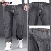 Jantour 2021 классический стиль мужчины бренд джинсы деловые повседневные свободные джинсовые брюки для ног серые брюки мужские негабаритные размеры 40 42 441