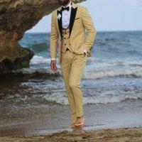 Men's Suits & Blazers Summer Khaki Tuxedos Men Black Lapel Costume Homme Terno Masculino Prom Slim Fit Man Blazer 3 Pieces Jacket Pant Vest