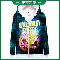 2018 trend Halloween digital printed 3D zipper Hooded Sweater