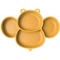 لوحات الطفل سيليكون عشاء لوحة صغيرة النحل الكرتون الأكل وعاء متكامل المضادة للسقوط المكملات شفط كأس التدريب أدوات المائدة ZWL523Y