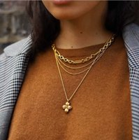 Texture metal cross pendant copper plated 18K Gold Fashion Necklace women's autumn and winter long sweater chain necklace