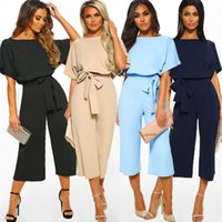 Womens Jumpsuits Round Neck Short Sleeve Loose Capri-Pants Rompers Casual Wear