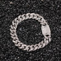 European and American hip hop Miami pure T square Cuban bracelet trendy cool ins wind diamond large gold chain men's bracelet jewelry trend