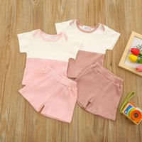 Clothing Sets Cotton Casual Summer Born Baby Boys Girls Outfits Suit Ribbed Knitted Patchwork T-shirts Tops+shorts Kids Tracksuits