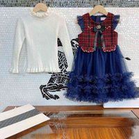 2021ss casual cc girls dress set mesh vest dress and wool knit bottoming shirt 2piece suit princess party dresses bowknot brooch letter logo Italy brand chen kids