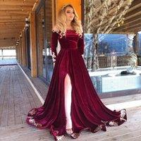 Arabic Long Sleeves A Line Split Evening Dresses Appliqued Off Shoulder Velvet Corset Back Formal Prom Party Gowns