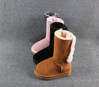 Genuine Leather Australia Girls Boys Ankle Winter Boots Kids Baby Shoes Warm Ski Toddler Boot for Fashion Wgg New Botte Fille