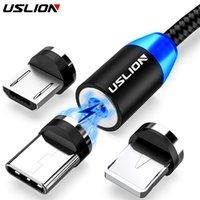 Câble USB magnétique USLION pour iPhone 12 11 Xiaomi Samsung Type C câble LED de charge rapide Charge de données Micro USB Câble câble Fil