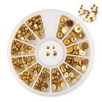 عجلة الفضة الراين الذهب لتصميم الأظافر ABS ستراس مسمار الفن زينة زينة الاكريليك سحر مانيكير أيمارت