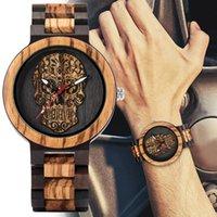 Wristwatches Men's Quartz Movement Wood Watch Ebony Inter Spot Horse Three Bead Skeleton Face
