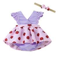 With Headband Hair Wrap Summer Baby Girls Dress Set Infants Flower Tutu Skirt Silky Diaper Cover Romper Newborn Sleeveless Backless Dresses G50HV68