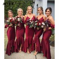 Vestido de dama de honra Preço por atacado Preço Sereia Vestidos Longo Vinho Vermelho Spaghetti Correias Empregada de Honra Wedding Convidado Prom Festa Vestido