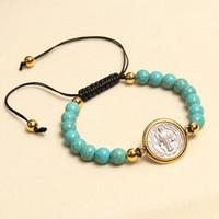 Bijoux à la main en gros catholique réglable corde réglable saint benedict chapelet turquoise bracelet perlé bracelet prière bracelet