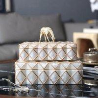 크로스 된 황금 라인 보석 상자 테이블 컨테이너와 luxtry 다이아몬드 패턴 Keepsakes 가정 장식 식물 장식 개체