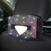 Bunte Strassauto-Tissue-Box-Halter-Sitz-Rücken-Kopfstütze Hängende Tissue-Papierkoffer-Diamantkristall Auto Sonnenschirm Tissue-Box 210326