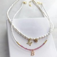 Chokers Custom Stainless Steel Letter Necklace Natural Freshwater Pearl Women's Five-pointed Star Accessories Boutique Jewelry