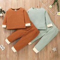 Clothing Sets Toddler Casual Outfits Boy Child Tracksuit Color Block Long Sleeve Hoodies Round Neck Sweatshirt And Pants Suit For 18M-6Y