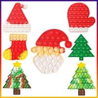 크리스마스 트리 스타킹 Mitten Shape 푸시 팝 Fidget 장난감 거품 포퍼 보드 넥타이 염료 Xmas 산타 절 모자 모자 미트 푸총 - 손가락 퍼즐