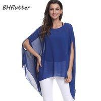 Bhffutter Blusas Mujer de Moda 2021 Bluz Kadın Gömlek Batwing Kollu Rahat Yaz Tops Tees Katı Şifon Bluzlar Artı Boyutu Kadın Shir